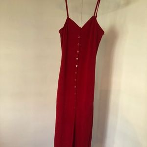 Button Down Knit Red Dress
